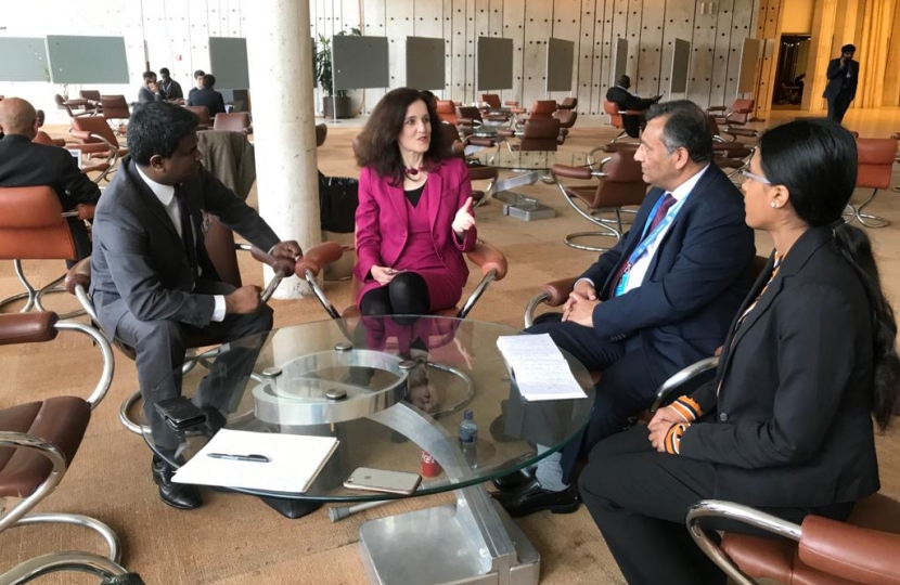 Theresa Villiers visits UN in Geneva to discuss human rights in Sri Lanka
