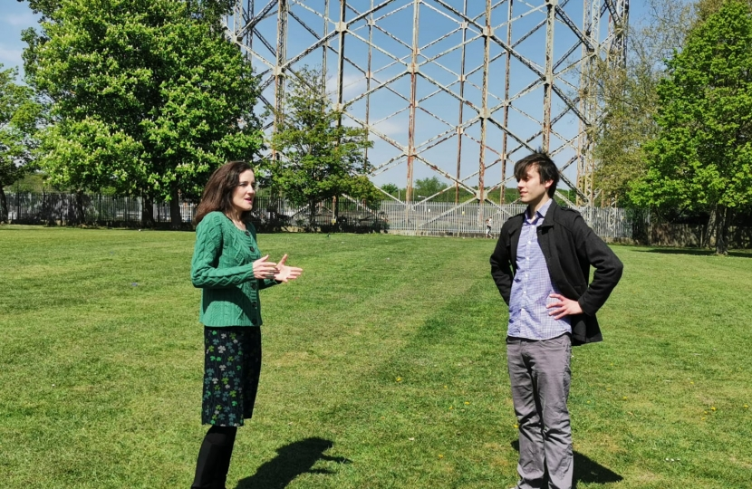 Theresa Villiers and Felix Byers in Victoria Recreation Ground in New Barnet