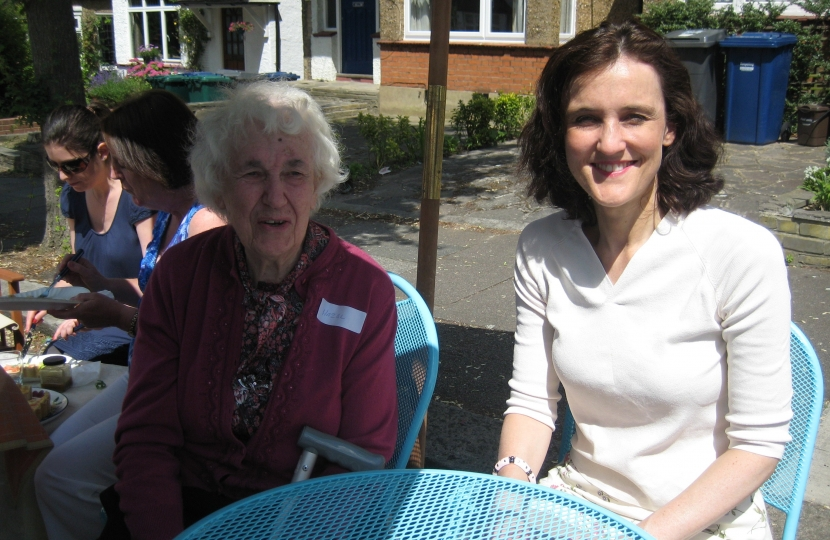 Theresa Villiers meets Hazel Amor who has lived in Horsham Avenue since 1926
