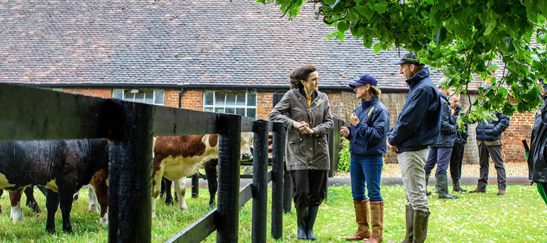 Theresa Villiers visits Minette Batters farm