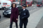 Theresa Villiers out with Met police officers in New Barnet